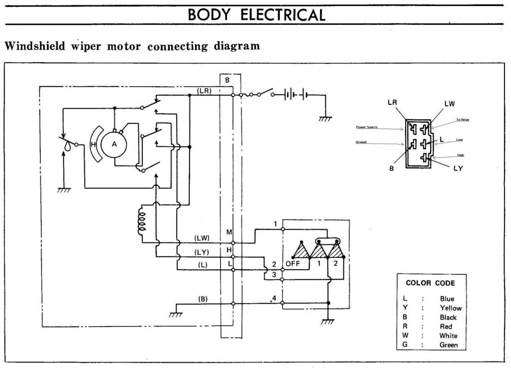 240z Windshield Wiper Motor Connecting Diagram