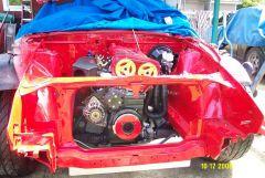 engine reinstalled after engine bay paint