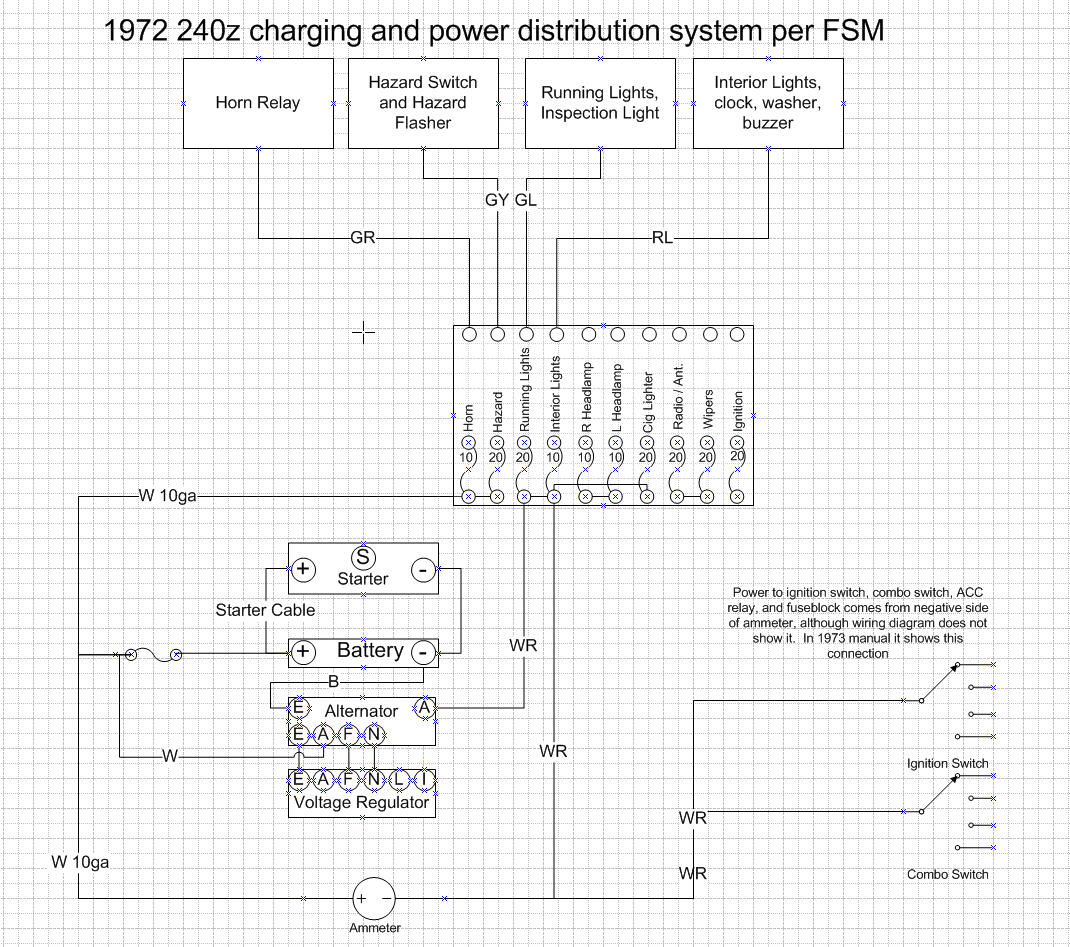 Charge System Wiring Diagram 240z Schematics Diagrams Combination Switch 280zx Charging Upgrade Ignition And Electrical Hybridz Rh Forums Org 1974 Datsun 260z Harness