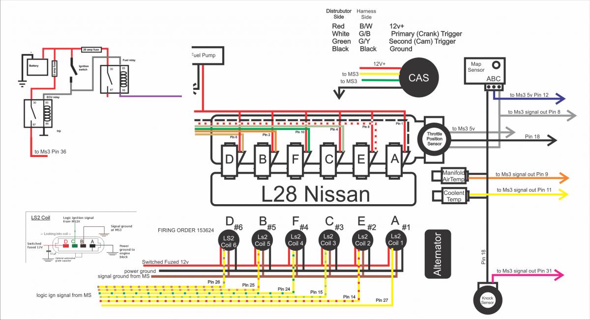 1st draft. wiring for L28-MS3pro - MegaSquirt - HybridZ