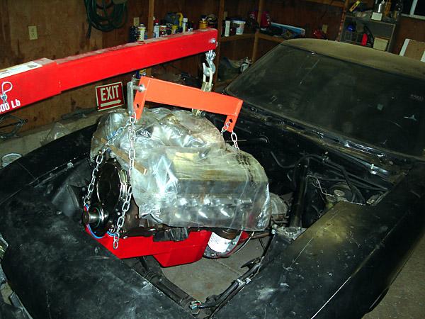 engine installation underway