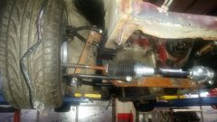View Of double wishbone suspension before coilovers