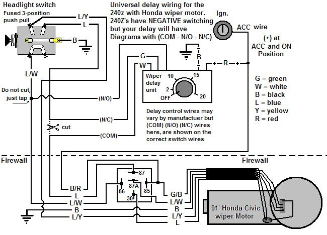 wiring up a honda wiper motor - with a twist - ignition ... 1987 s10 wiper motor wiring diagram honda wiper motor wiring diagram